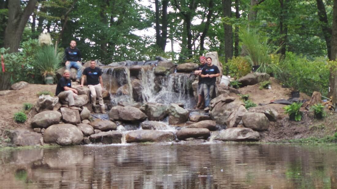 Giant Waterfall Build & Shore Restoration, Pennington, NJ