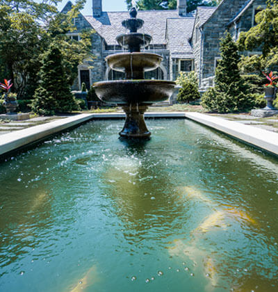 Formal Fish Pond With Fountain